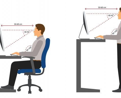 Ergonomic desk set-up diagram