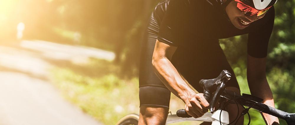 Cyclist riding downhill