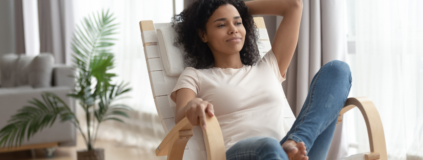 woman relaxing in a chair
